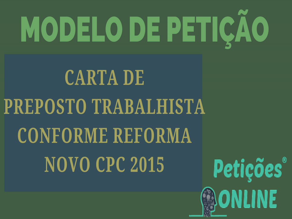Carta De Preposto Trabalhista Reforma Novo Cpc