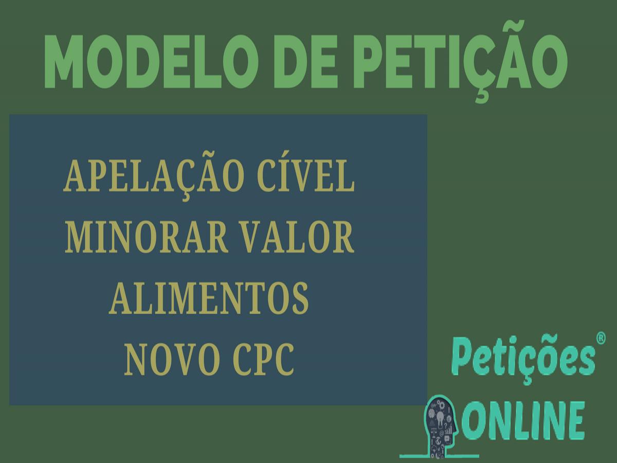 Modelo De Recurso De Apelação Novo Cpc Ação Revisional De Alimentos Minorar Pn808
