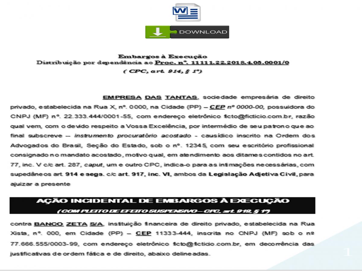 Modelo De Embargos à Execução Novo Cpc Cédula De Crédito Bancário Pn533